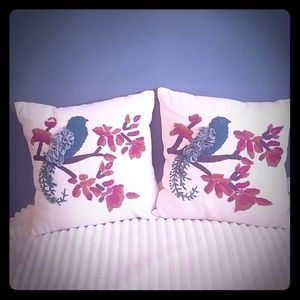 Pier One hand crafted blue bird pillows